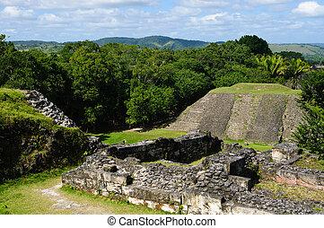 xunantunich, ruína, mayan, belize