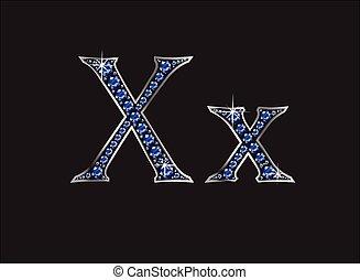 xx, ingioiellato, zaffiro, font