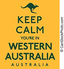 xx, manifesto, format., australia', vettore, occidentale, 'keep, calma