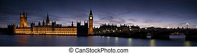 xxl, -, 議會的房子, 在, 黃昏