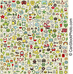 XXL Doodle Icons Set No.4 for every occasion in colors. Small hand-drawn illustrations are isolated (group) on background and in eps8 vector mode.