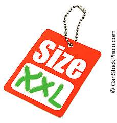 xxl, etikett, größe