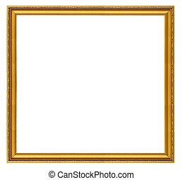 xxl, grootte, gouden, plein, frame