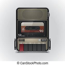 xxl, registrador, vector, cassette, icono