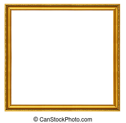 XXL size golden square frame isolated on white