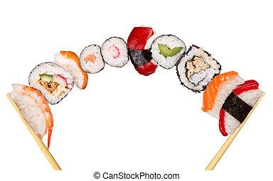 XXL sushi pieces, isolated on white background