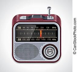 xxl, vettore, radio, icona
