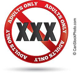 xxx, 성인만, 내용, 서명해라., 벡터, button.