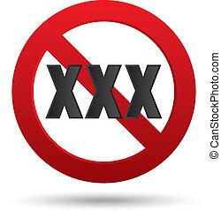 xxx, adultes seulement, contenu, signe., vecteur, button.