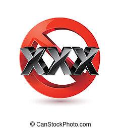 xxx, adultos solamente, contenido, signo., edad, límite, icon.