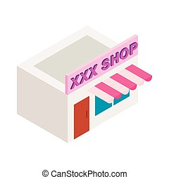XXX shop building icon, isometric 3d style