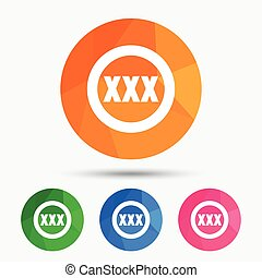 XXX sign icon. Adults only content symbol.