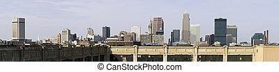 xxxl, panorama, centro cidade, cleveland
