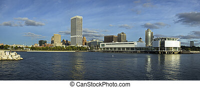 Panoramic downtown of Milwaukee, Wisconsin.