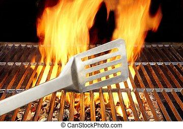 xxxl, spatola, fiamme, bbq, griglia