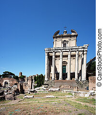 Forum Romanum - XXXL stitched image of The Temple of...
