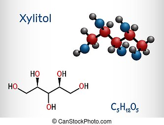 Xylitol, C5H12O5 molecule. It is polyalcohol and sugar alcohol, an alditol. Is used as food additive E967 and sugar substitute. Structural chemical formula and molecule model