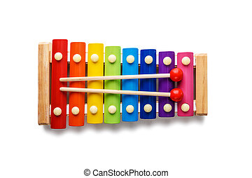 xylophone, couleur, isolé