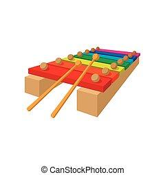xylophone, dessin animé, icône