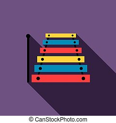 Xylophone icon in flat style