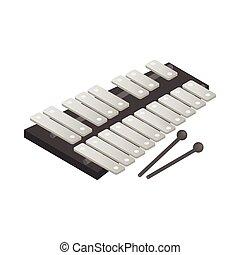 Xylophone icon, isometric 3d style