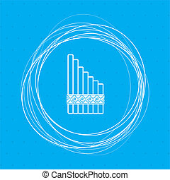 xylophone icon on a blue background with abstract circles around and place for your text.