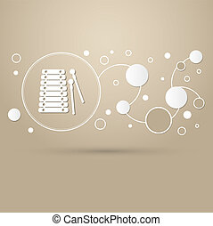 Xylophone Icon. on a brown background with elegant style and modern design infographic.
