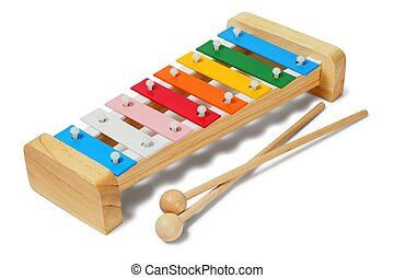 Xylophone on white - Rainbow xylophone on white background