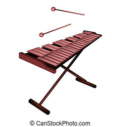 Music Instrument, An Illustration of Xylophone, Vibraphone or Marimba on Stand and Two Beater Isolated on White Background