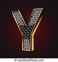 *y*, שחור, מכתב, זהב