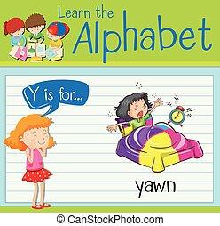 y, あくび, 手紙, flashcard