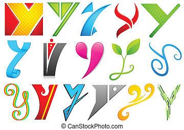 y, alfabet, różny, ikona