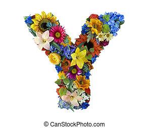 y, alfabeto, flor, -