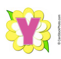 y, alfabeto, flor, alfinete, amarela