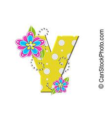 y, alfabeto, flores, bonny