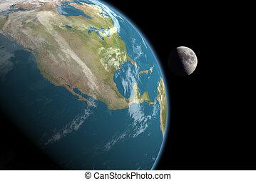 y, américa, norte, luna