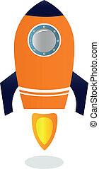 y, azul, barco, naranja, (, aislado, ), cohete, blanco