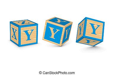 y, bois, vecteur, blocs, lettre