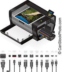 y, cables, laser, chorro, impresora