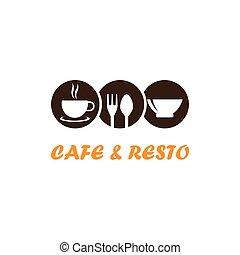 y, café, resto, logotipo
