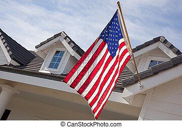 y, casa, resumen, bandera estadounidense, fachada