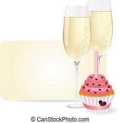 y, champaña, cupcake
