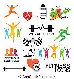 y, condición física, salud, iconos