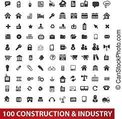y, conjunto, industria, iconos, vector, construcción, 100, arquitectura