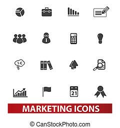 y, conjunto, mercadotecnia, iconos, vector, mercado