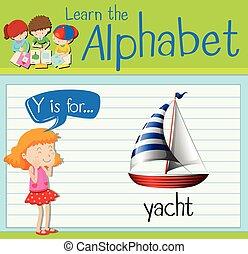 y, flashcard, ヨット, 手紙