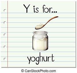 y, flashcard, ヨーグルト, 手紙