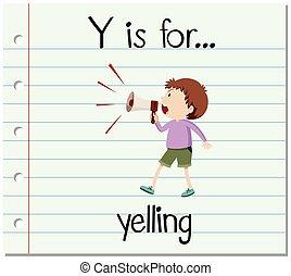 y, flashcard, 叫ぶ, 手紙