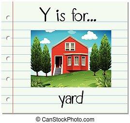 y, flashcard, 庭, 手紙