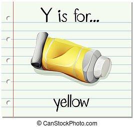 y, flashcard, carta, amarillo